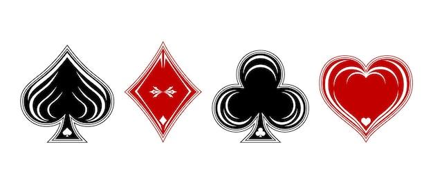 トランプのポーカーとカジノスーツのデッキ