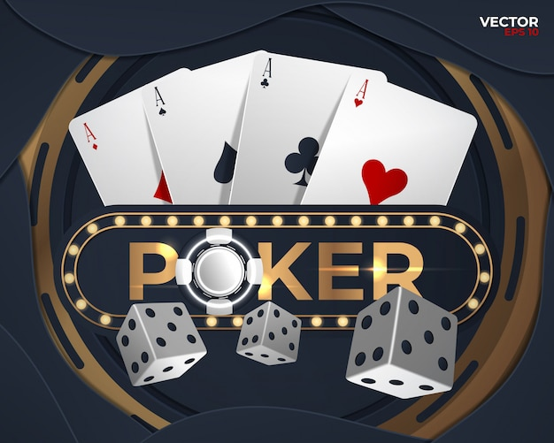 Poker banner with four aces and a several back side playing cards