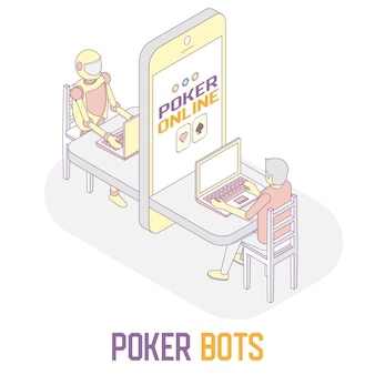Poker bots concept vector isometric illustration