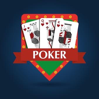 Poker card combination royal game risk emblem