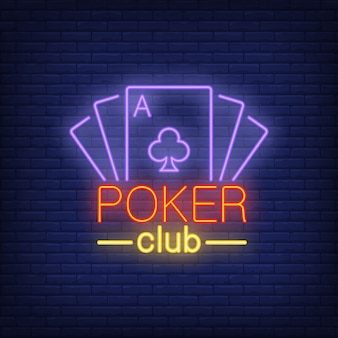 Poker card lettering with playing cards. neon icon on brick background.