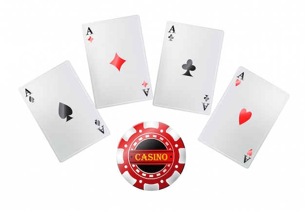 Poker cards in casino. gambling, playing cards, jackpot.  entertainment concept.