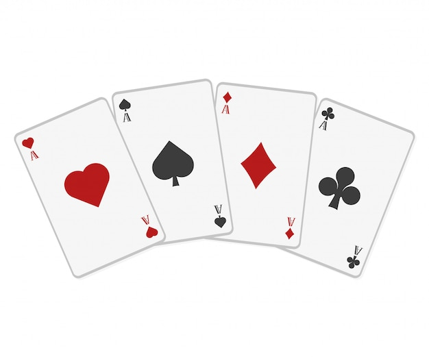 Poker cards in flat style