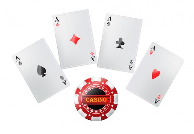 Покерные карты в казино. азартные игры, игральные карты, джекпот. концепция развлечений.