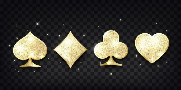 ポーカーカードが似合います。 4つのカジノトランプゴールデンキラキラシンボル。デザイン要素。ベクトルイラスト