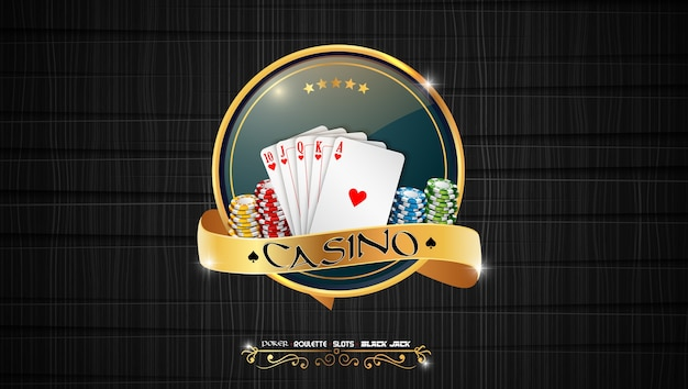Poker casino banner with chips and cards