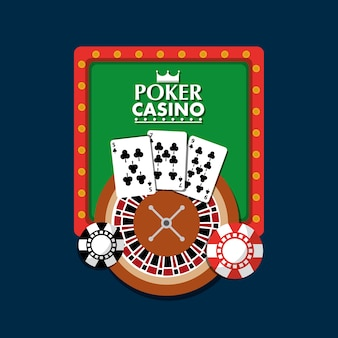 Poker casino board light club gambling roulette cards chip