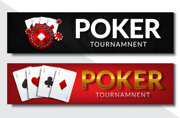 Poker casino horizontal banner set