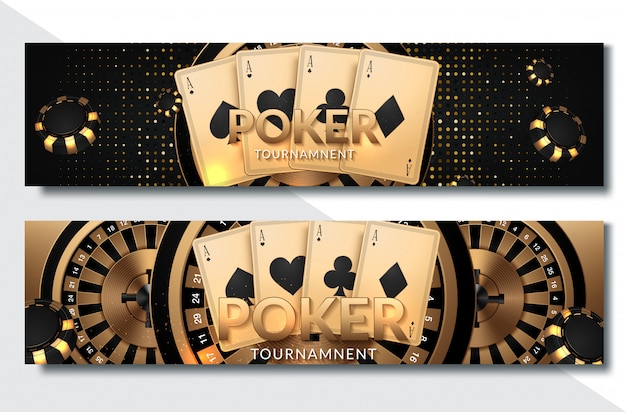 Poker casino horizontal banner set