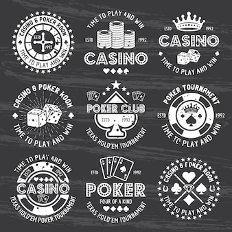 Poker and casino set of vector white gambling emblems