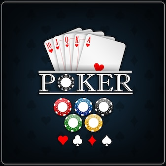 Poker casino templater with poker cards and casino chips