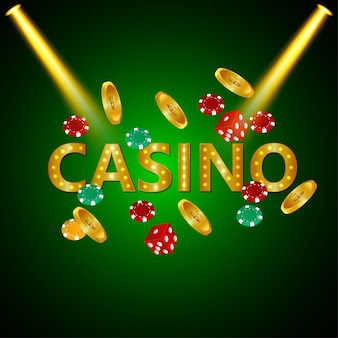 Poker casino with playing cards and luxury background