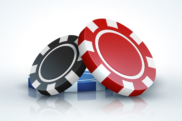 Poker chip. casino gambling 3d realistic playing chips isolated on white, online casino game concept