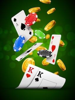 포커 칩 카지노 녹색 포스터. 도박 카드와 동전 성공 우승자 로얄 카지노 배경.