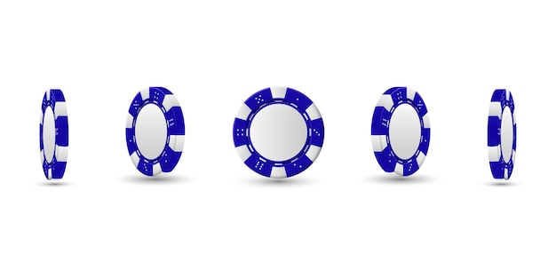 Poker chips in different position. blue chips isolated