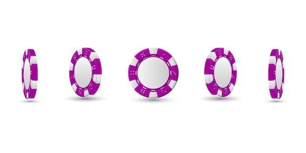 Poker chips in different position.   magenta chips isolated on light background.