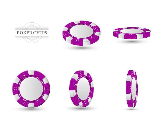 Poker chips in different position.   magenta chips isolated