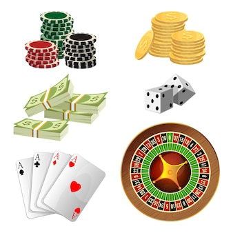 Poker chips, golden coins with dollar sign