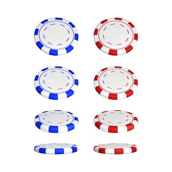 別の位置にあるポーカーチップ。白い背景で隔離の色赤と青のカジノチップ。ベクトルイラスト