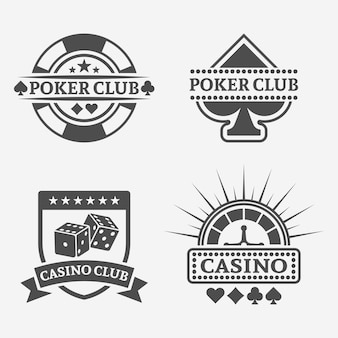 Poker club and gambling casino isolated vector vintage labels