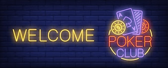 Poker club neon sign. Cards, poker chips and welcome inscription on brick wall background