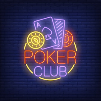 Poker club neon sign. Playing cards and coins in round frame on brick wall background.