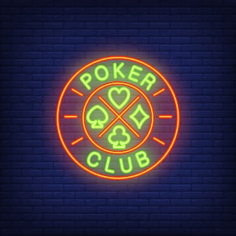 Poker club neon sign