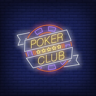 Poker club neon text on ribbon with chip and five stars