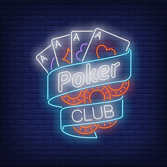 Poker club neon text on ribbon with playing cards and chips
