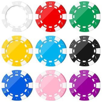 白の背景に分離されたポーカーのカラフルなチップアイコンセット-白、赤、緑、黄色、青、黒、ピンク、紫。
