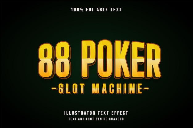 Poker, editable text effect yellow gradation orange shadow text style