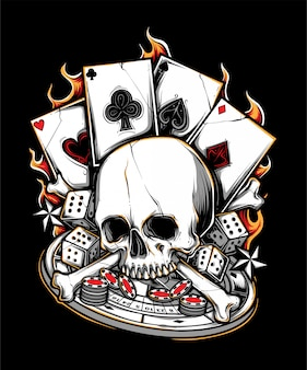 Poker gambler bone skull illustration