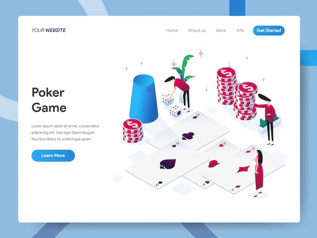 Poker game isometric illustration for website page