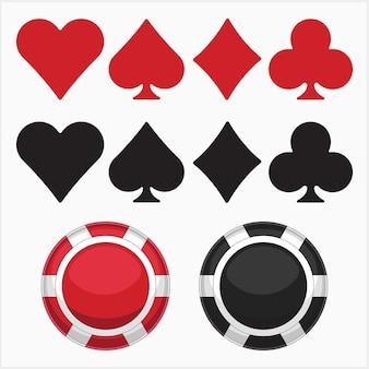 기호 및 게임 칩의 포커 게임 세트