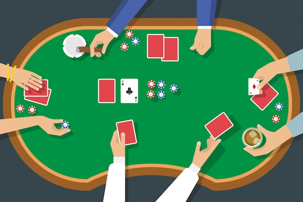 Poker game top view