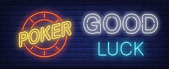 Poker, good luck neon sign
