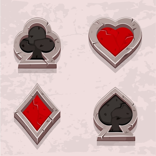 Poker icons stone texture, card suit