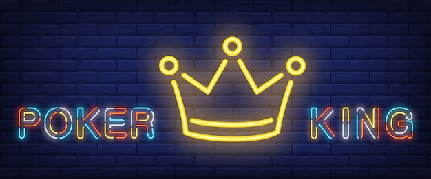 Poker king neon text with crown