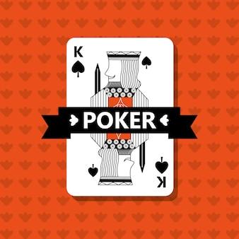Poker king spade game banner ribbon