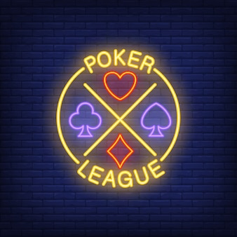 Poker league lettering with suits. Neon icon on brick background.