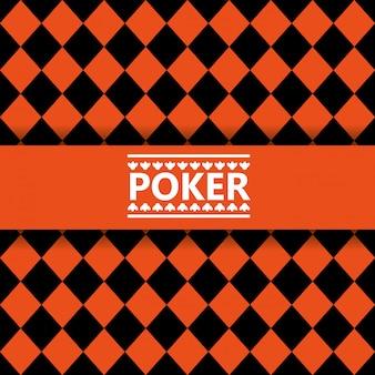 Poker lettering black and orange seamless background