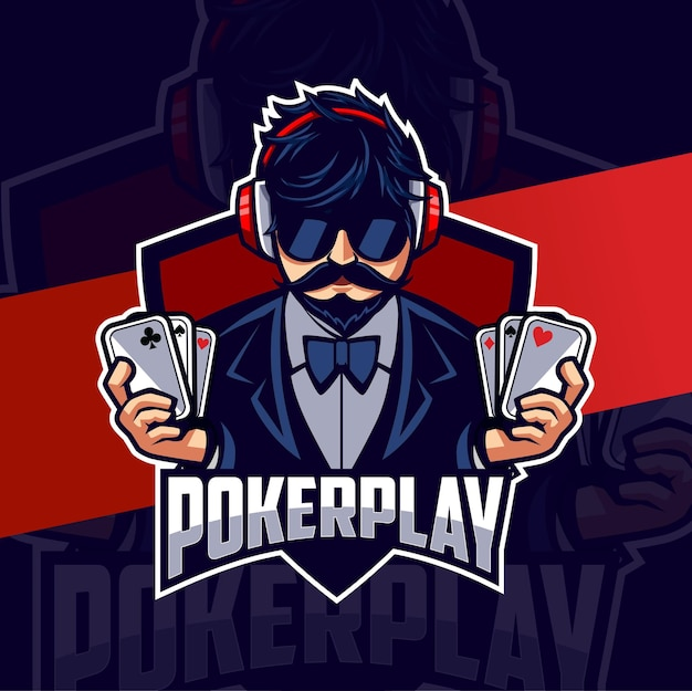 게임과 스포츠를 위한 포커맨 마스코트 esport 로고 디자인