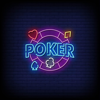Poker neon signs style text .
