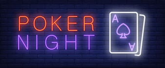 Poker night neon text with playing cards