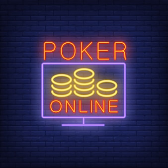 Poker online banner in neon style on brick background.