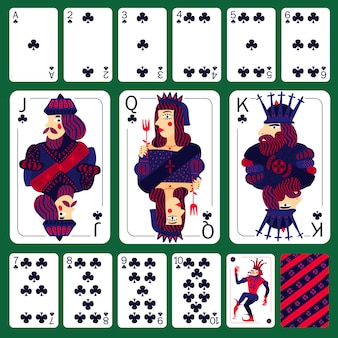 Poker playing cards club suit set