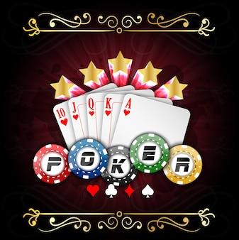 トランプとポーカーチップを持つポーカーのポスター