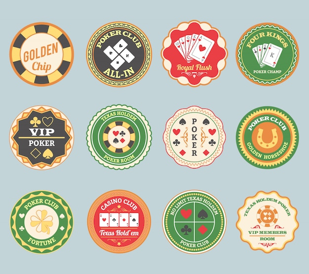 Poker retro labels set