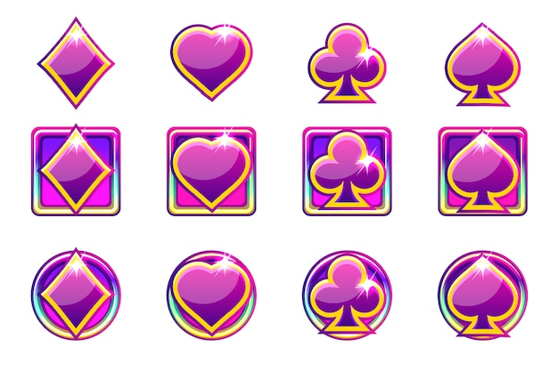 Poker symbols of playing cards in purple, app icons for ui