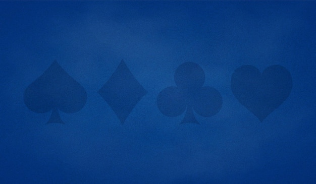 Poker table background in blue color with cards suits.